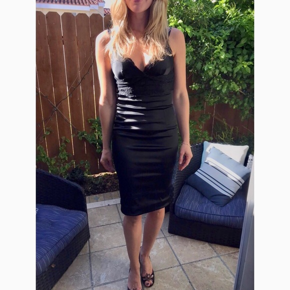 5de296c9 Dolce & Gabbana Dresses | Dolce Gabbana Black Satin Dress Wlace ...